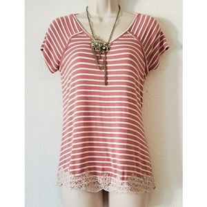 Rewind Pink Striped Lace Outline Tee Size:Small